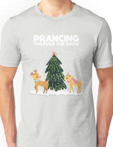 Cute Funny Prancing Through the Snow Unisex T-Shirt