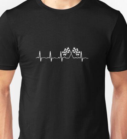 Racing Flag Checkered Flag Heartbeat Motorsports Unisex T-Shirt