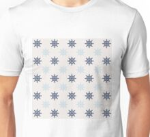 Nautical Blue Ships Wheel Pattern Unisex T-Shirt