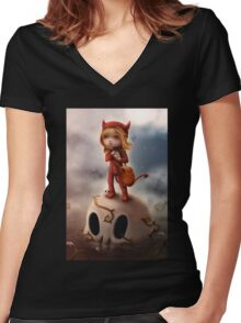 Wickedly Drawn Women's Fitted V-Neck T-Shirt