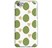 TMNT green shells and pizza (white) iPhone Case/Skin