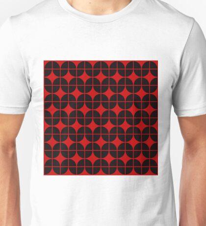 Optical Illusion Pattern Neon Red on Black Unisex T-Shirt