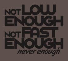 Not low enough, Not fast enough, Never enough (6) Kids Clothes