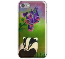 Badger in the foxgloves iPhone Case/Skin