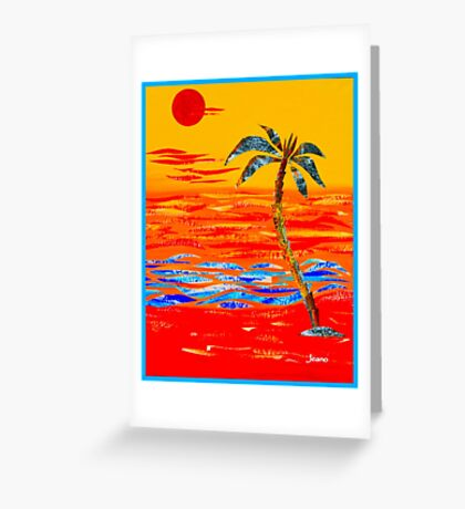 TROPICAL ISLAND PALM - RED Greeting Card