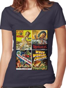 1950s Sci-Fi Poster Collection #2 Women's Fitted V-Neck T-Shirt