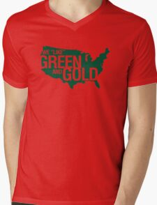 WE LIKE GREEN and GOLD Mens V-Neck T-Shirt