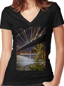 Warp Manhattan Bridge Women's Fitted V-Neck T-Shirt
