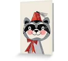 Red fez Racoon Greeting Card