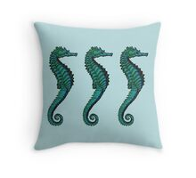 Seahorse Trio | Blue and Green Throw Pillow