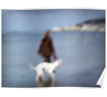 Impression of walking the dog on the beach Poster