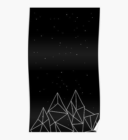 Abstract Mountains Over Stars Poster