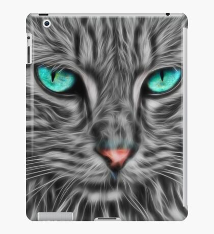 Grey Fur Blue Eyed Cat Drawing iPad Case/Skin
