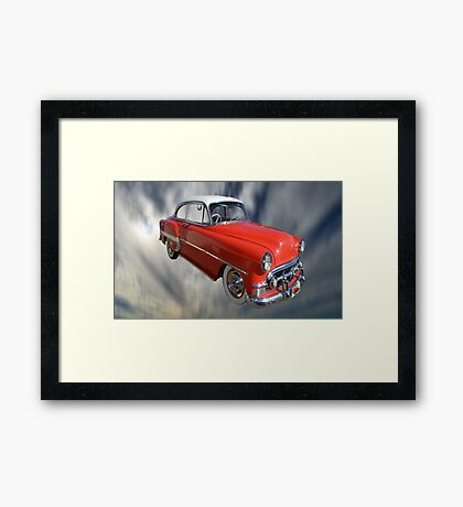Red Classic Car From The 50s 60s Framed Print