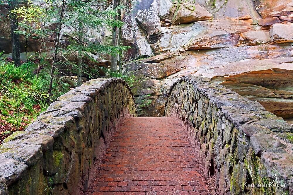 Stone Footbridge at Old Man's Cave by Kenneth Keifer