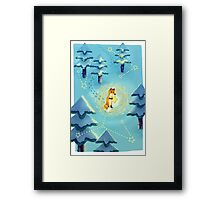 Fox in Snow with Stars Framed Print