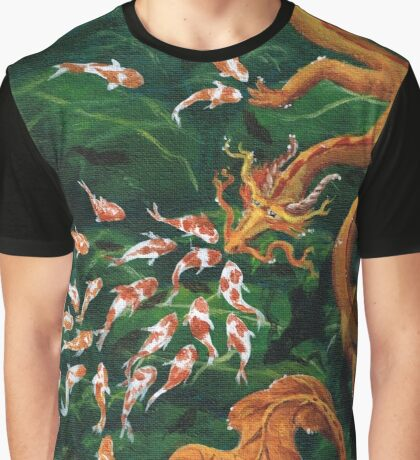 Zen Eastern Water Dragon and Koi Pond Graphic T-Shirt