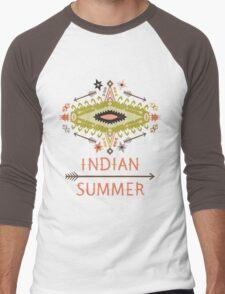 Ornamental round geometric native style pattern. Orient ornament on dark colors Men's Baseball ¾ T-Shirt