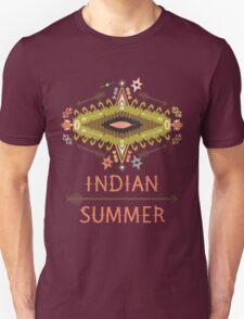 Ornamental round geometric native style pattern. Orient ornament on dark colors T-Shirt