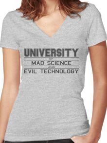 University of Mad Science and Evil Technology Women's Fitted V-Neck T-Shirt