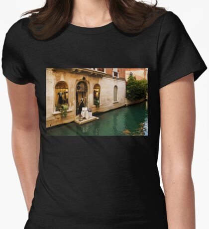 Impressions Of Venice - Shopping for a Black Dress at an Elegant Canalside Boutique Womens Fitted T-Shirt