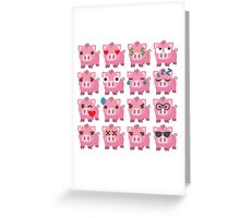 Pig Emoji Different Facial Expressions Greeting Card