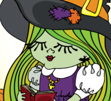 Halloween Witch girl reading book Sticker