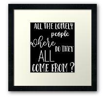 Eleanor Rigby - The Beatles - Vintage Typography Lyrics Framed Print