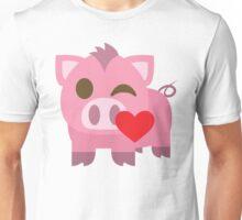 Pig Emoji Flirting and Blowing Kiss Unisex T-Shirt