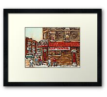 VERDUN TAVERNE BAR DE COURCELLE AND HOCKEY MONTREAL WINTER SCENE Framed Print
