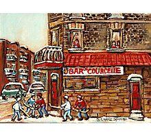 VERDUN TAVERNE BAR DE COURCELLE AND HOCKEY MONTREAL WINTER SCENE Photographic Print