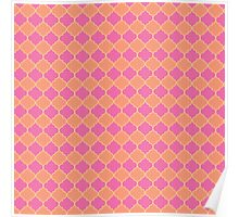 Sherbet pink and peach quatrefoil Poster
