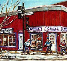CENTRE PIZZA VERDUN WINTER SCENES POINTE ST CHARLES HOCKEY ART MONTREAL PAINTINGS by Carole  Spandau