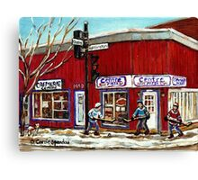 CENTRE PIZZA VERDUN WINTER SCENES POINTE ST CHARLES HOCKEY ART MONTREAL PAINTINGS Canvas Print
