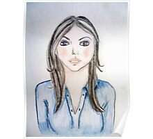 Blue blouse girl Poster