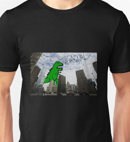 Rawr! Dinosaur T Rex attacking Chicago Unisex T-Shirt