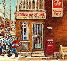DEPANNEUR REGINA STREET HOCKEY AT VERDUN CORNER STORE MONTREAL WINTER SCENE by Carole  Spandau