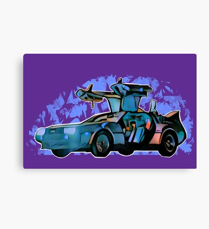 Back to the future Delorean Canvas Print