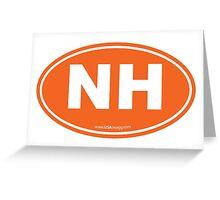 New Hampshire NH Euro Oval ORANGE Greeting Card