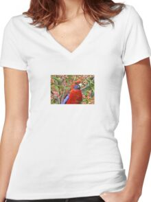 "Crimson Rosella ~ ""I'll Brighten Your Day"" Women's Fitted V-Neck T-Shirt"