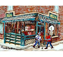 EPICERIE SOLEIL VERDUN STORE WITH HOCKEY GAME Photographic Print