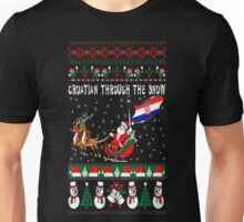 Croatian Through The Snow Christmas Ugly Sweater T-Shirt Unisex T-Shirt