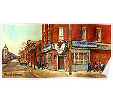 POINTE ST.CHARLES BRASSERIE TAVERNE URBAINE LE DIABLE A QUATRE MONTREAL WINTER  Poster
