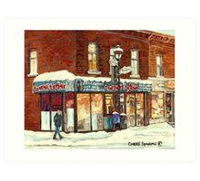 POUTINE LAFLEUR VERDUN HOTDOG RESTAURANT MONTREAL CITY SNOW SCENE Art Print
