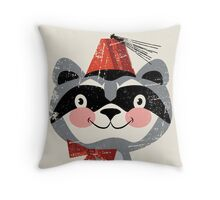Red fez Racoon Throw Pillow