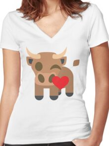 Ox Emoji Flirting and Blowing Kiss Women's Fitted V-Neck T-Shirt