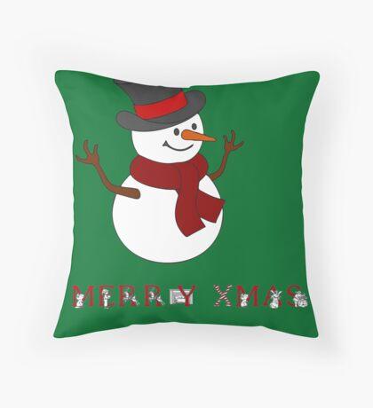 Merry Xmas Snowman clipart Throw Pillow