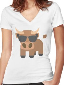Ox Emoji Cool Sunglasses Look Women's Fitted V-Neck T-Shirt
