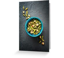 Various Cardamom Spices in Authentic Turkish Bowl Greeting Card