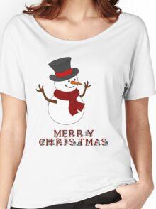 Merry Christmas Snowman clipart Women's Relaxed Fit T-Shirt